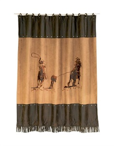 Team Roping Embroidered Shower Curtain