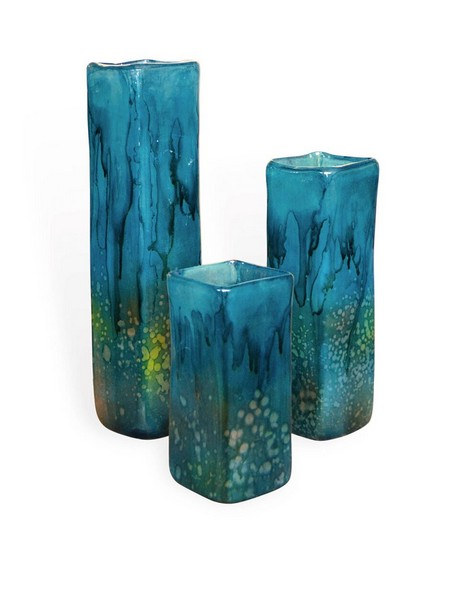 Turquoise Square Vases Set of 3