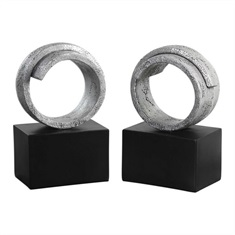 Twist Modern Silver Bookends S/2