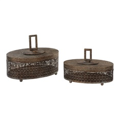 Uttermost Agnese Antiqued Gold Boxes, Set Of 2