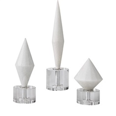 Uttermost Alize White Stone Sculptures S/3