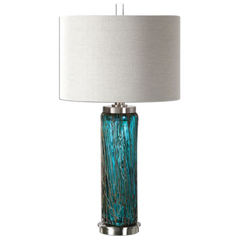 Uttermost Almanzora Blue Glass Lamp