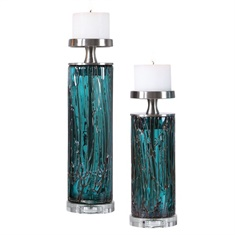 Uttermost Almanzora Teal Glass Candleholders S/2