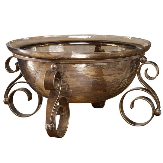 Uttermost Alya Bronze Glass Bowl