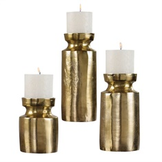 Uttermost Amina Antique Brass Candleholders Set/3