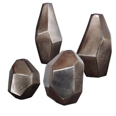 Uttermost Amna Matte Nickel Vases Set/4