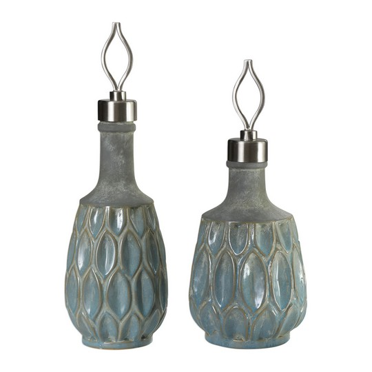 Uttermost Arpana Blue And Gray Bottles S/2