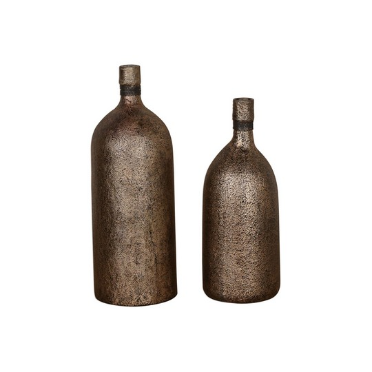 Uttermost Biren Textured Antiqued Gold Vases Set/2