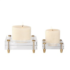 Uttermost Claire Crystal Block Candleholders, S/2