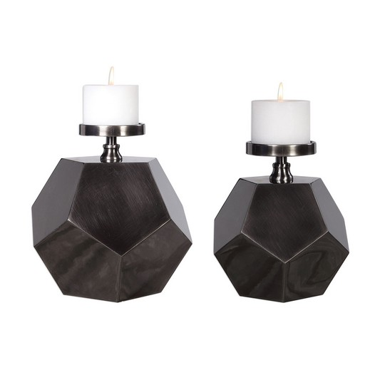 Uttermost Dash Steel Polygon Candleholders Set/2