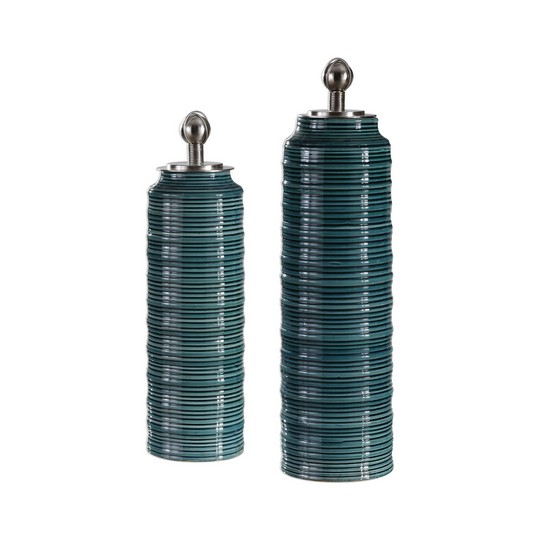 Uttermost Delane Dark Teal Canisters S/2