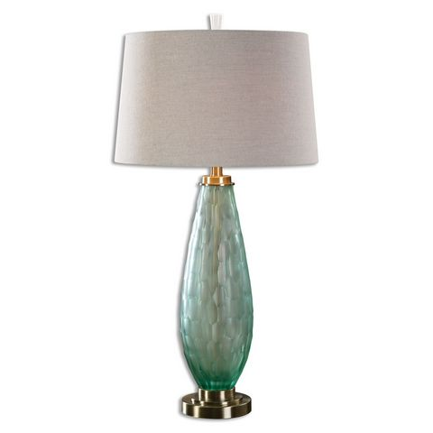 Uttermost Lenado Sea Green Glass Table Lamp
