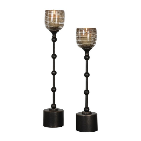 Uttermost Lula Oil Rubbed Bronze Candleholders S/2