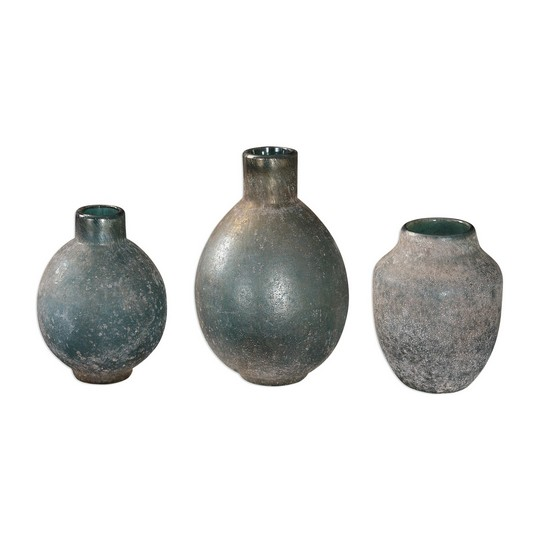 Uttermost Mercede Weathered Blue-Green Vases S/3
