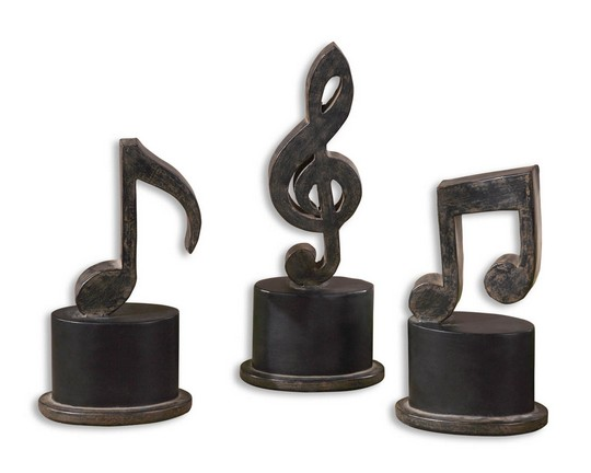 Uttermost Music Notes Metal Figurines, Set/3