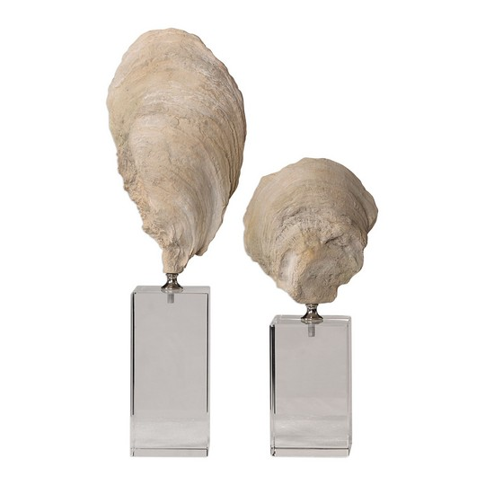 Uttermost Oyster Shell Sculptures, S/2