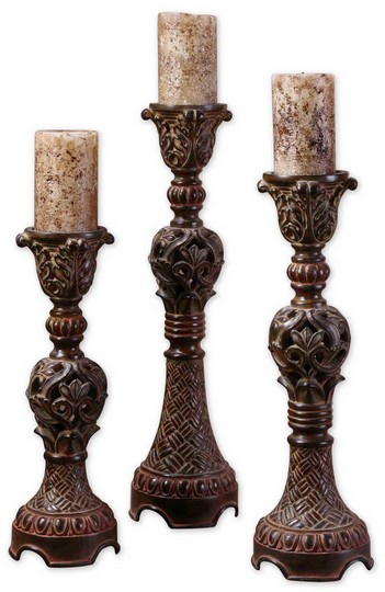 Uttermost Rosina Walnut Brown Candlesticks, Set/3