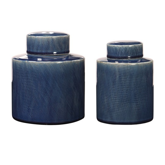 Uttermost Saniya Blue Containers, S/2