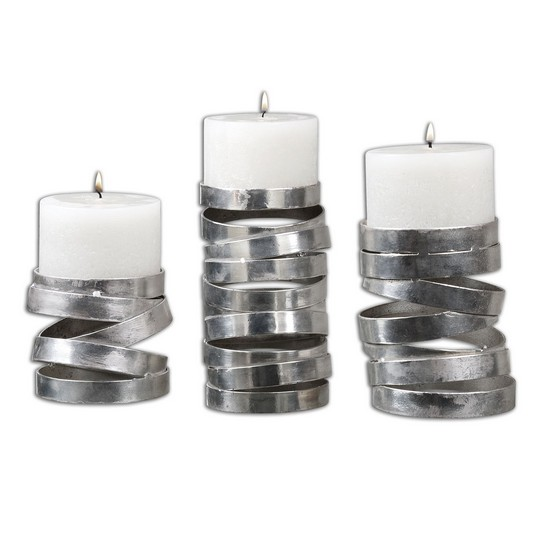 Uttermost Tamaki Silver Candleholders, S/3