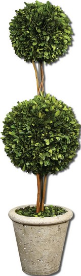 Uttermost Two Sphere Topiary Preserved Boxwood