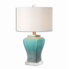 Valtorta Blue-Green Glass Table Lamp