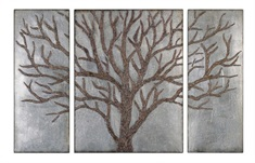Winter View Rustic Tree Mirror Set/3