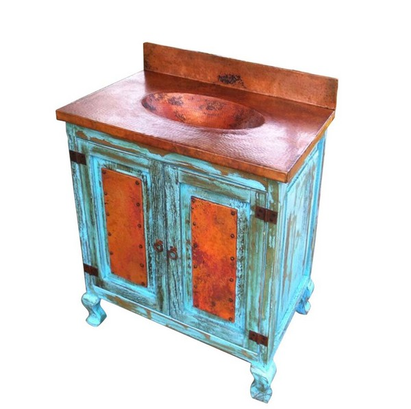 Wooden Vanity and Copper Sink